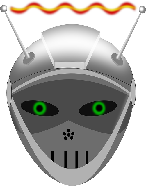 robot, android, droid, face, iron mask, metal, antenna