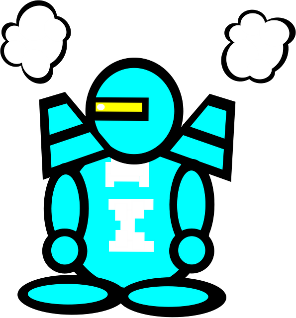 robot, android, jetpack, droid, blue, simple