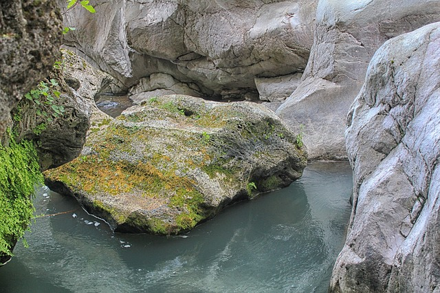 rocks, boulders, stream, water, reflections, nature