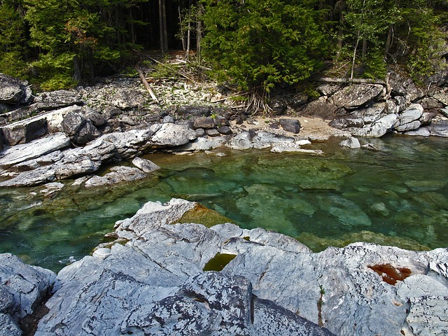rocky, river bed, crystal, clear, water, nature