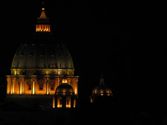 rome, st peter's basilica, night, church, cathedral
