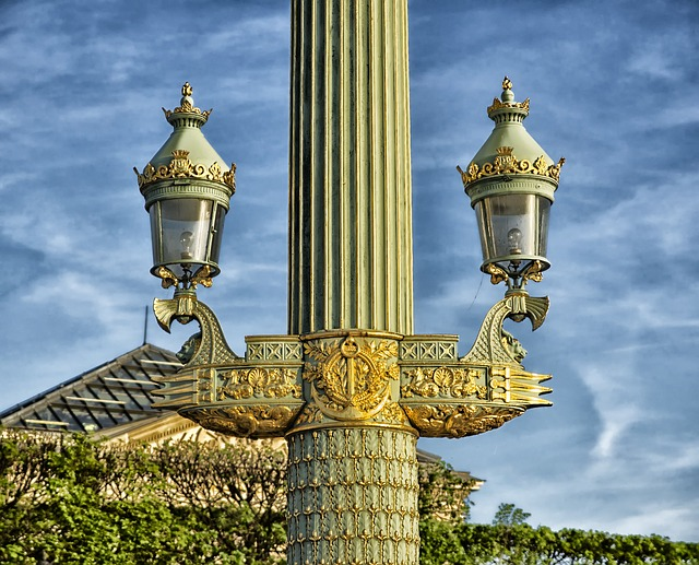 rostral columns, lamp post, elegant, paris, france