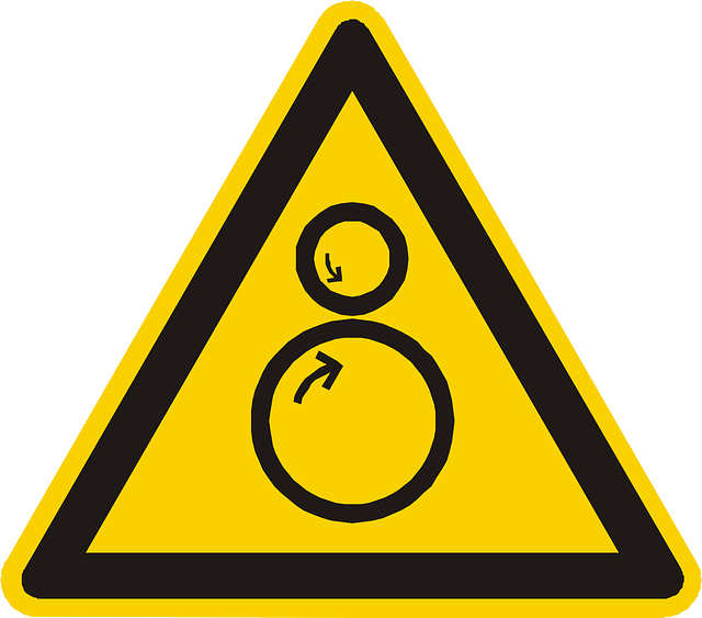 rotating cylinders, warning, attention, yellow, sign