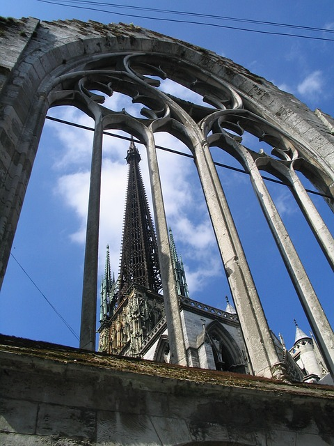 rouen, cathedral, building, france, normandy