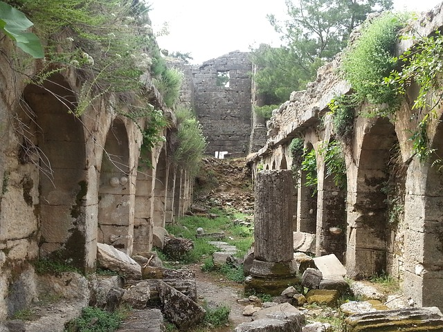 ruins of seleukeia in the year, turkey, antique