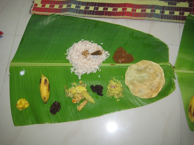 sadya, onam, banana leaf, kerala, food, rice