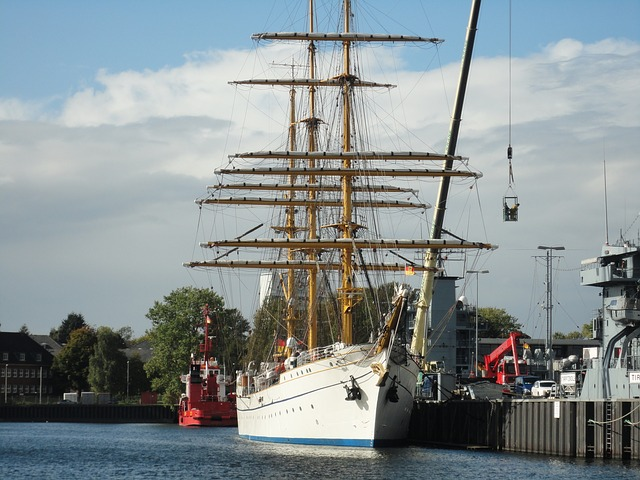 sailing vessel, gorch fock, training ship, navy, port