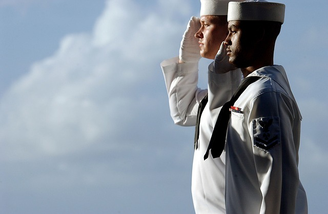 sailors, saluting, isolated, standing, sky, clouds