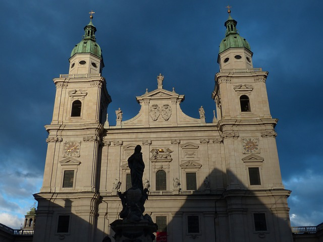 salzburg cathedral, facade, evening sun, illuminated