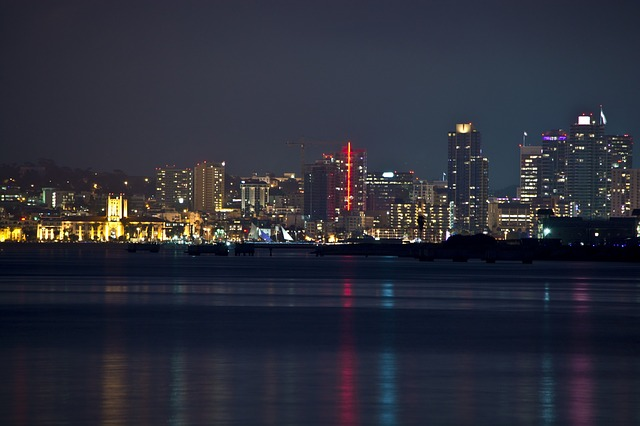 san diego, california, ocean, sky, buildings, water