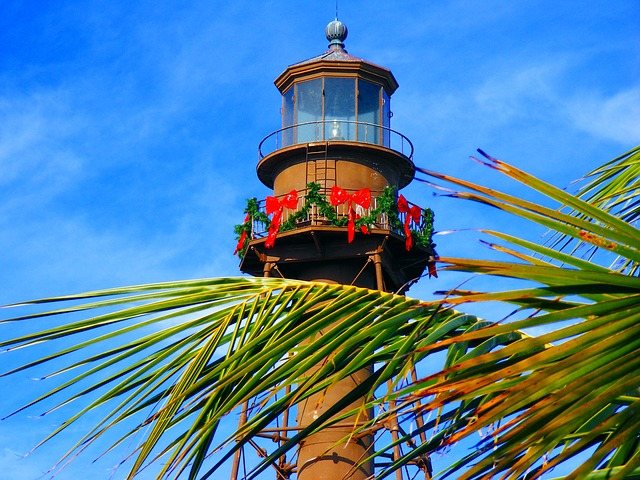 sanibel island, florida, lighthouse, palm, sky