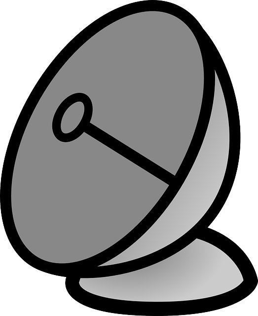 satellite, flat, icon, cartoon, dish, antenna, signal