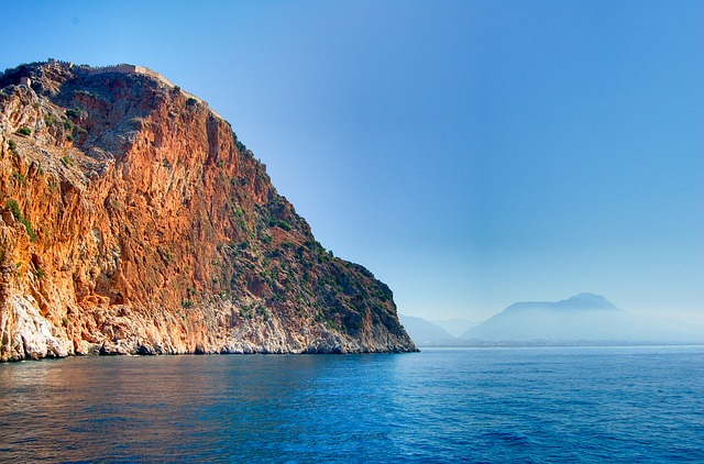 sea, at sea, turkey, turkish riviera, mountains