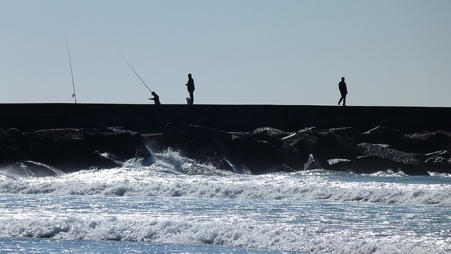 sea, back light, angler, pier, port, wave