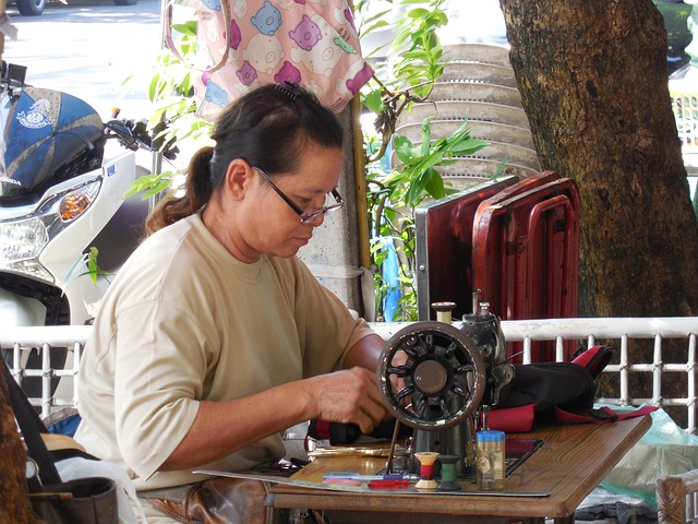 seamstress, sewing, antique, people, city, bangkok