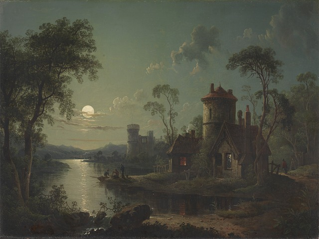 sebastian pether, houses, people, stream, river, water
