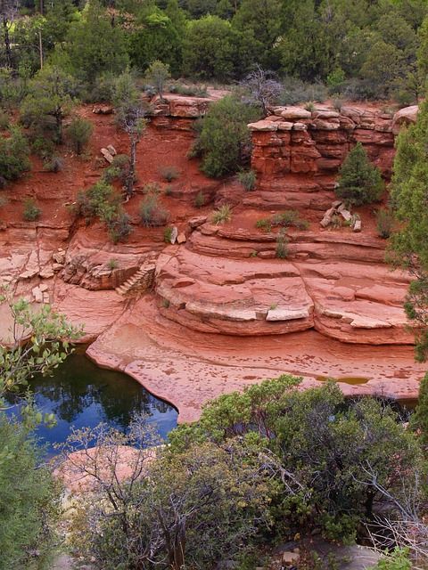 sedona, arizona, red, rocks, river, water, landscape