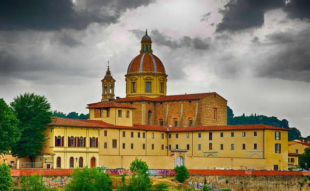 seminary, florence, italy, sky, clouds, landscape