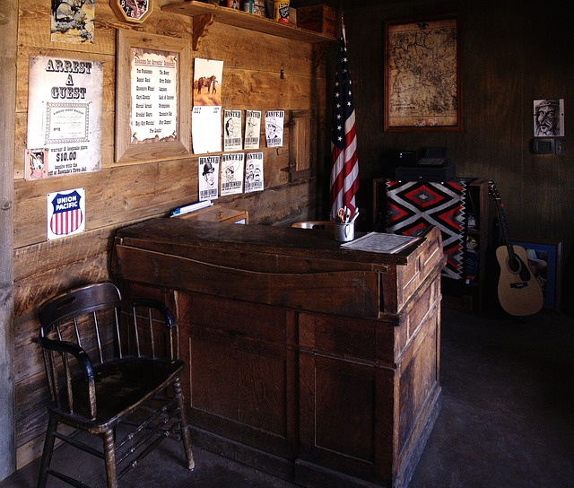 sheriff, office, heritage, old, furniture, desk