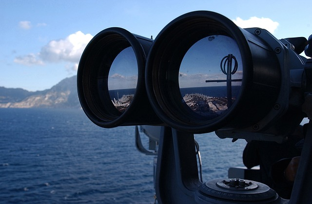 ship, aircraft carrier, navy, military, binocular