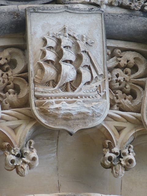 ship, sailing vessel, sail, coat of arms, caravel