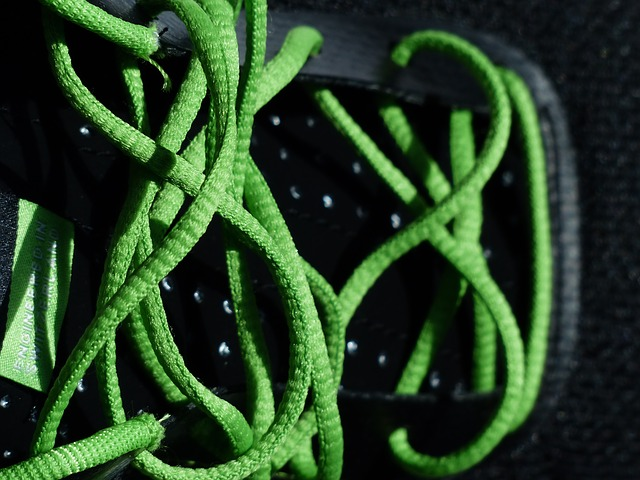 shoelaces, lacing, green, sports shoes, running shoes