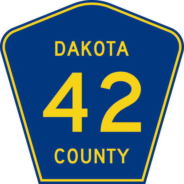 sign, blue, yellow, route, dakota, county, 42