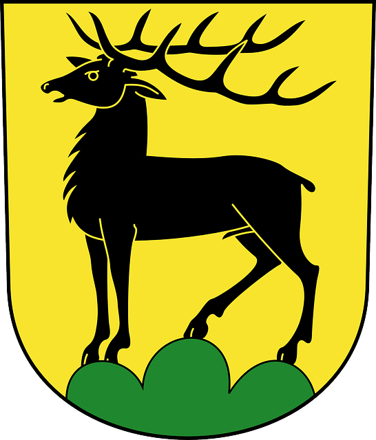sign, green, symbol, shield, coat, arms, horns, animal