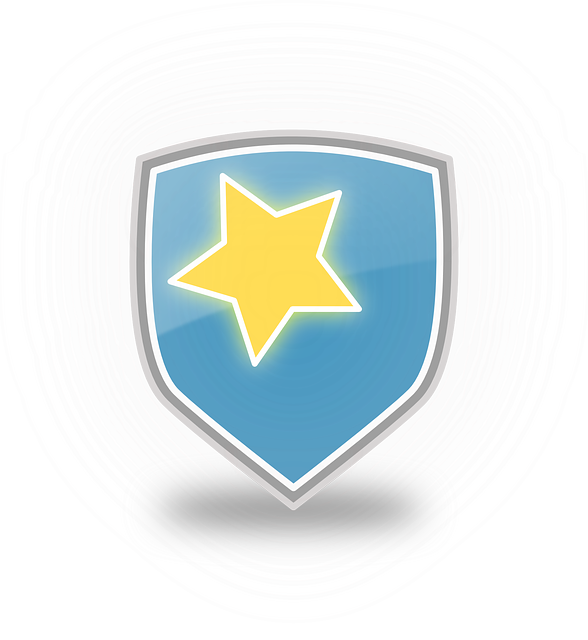 sign, icon, blue, symbol, star, yellow, shield