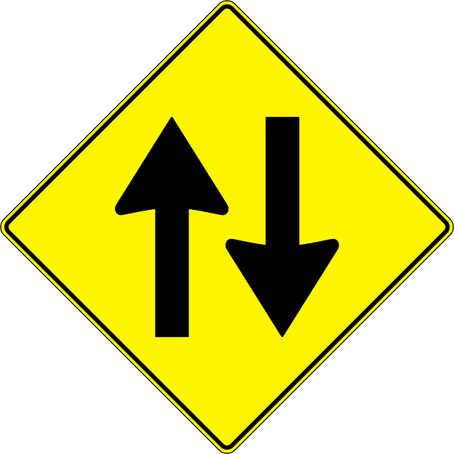 sign, one, two, symbol, yellow, arrow, cartoon, signs