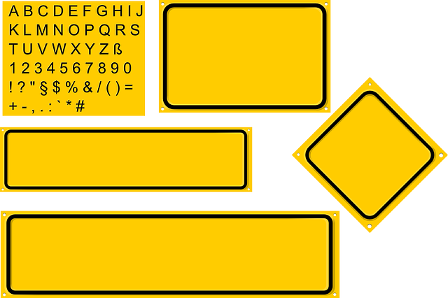 sign, set, yellow, diamond, builder, rectangles