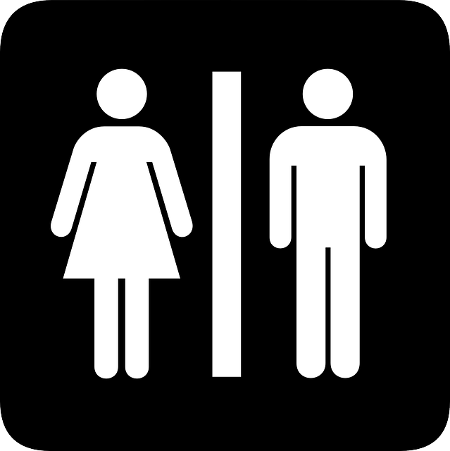 sign, silhouette, female, male, public, bathroom, and