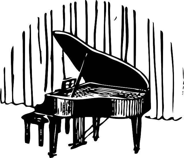 silhouette, cartoon, free, piano, front, player