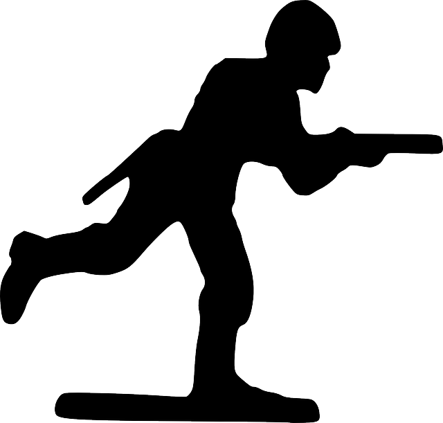 silhouette, cartoon, toy, gun, running, run, soldier