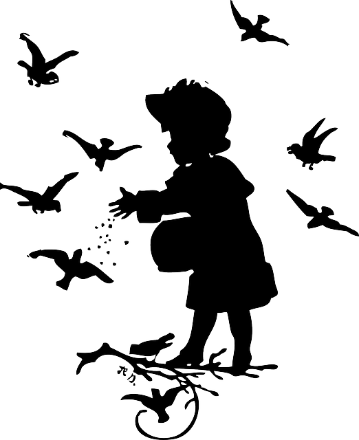 silhouette, girl, little, birds, wings, feed, feeding