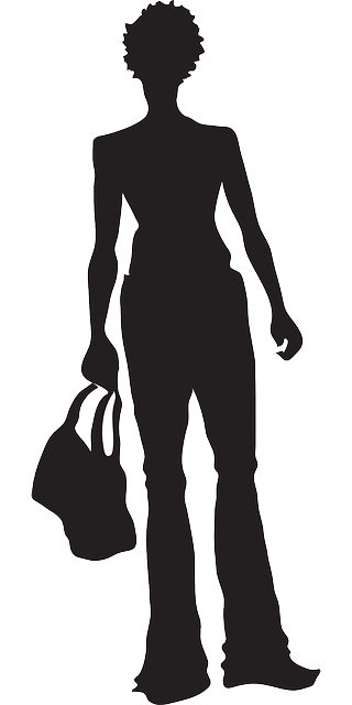 silhouette, girl, shopping, bag, standing, purse, with