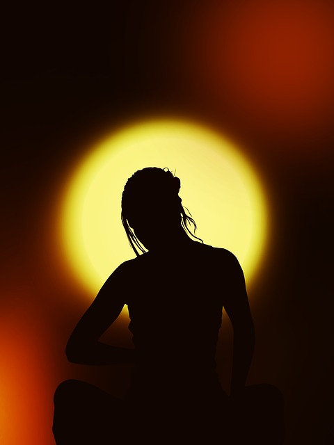 silhouette, woman, meditation, interior, harmony, rest