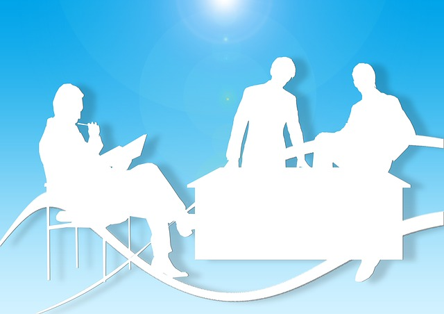 silhouettes, office, desk, men, meeting, development