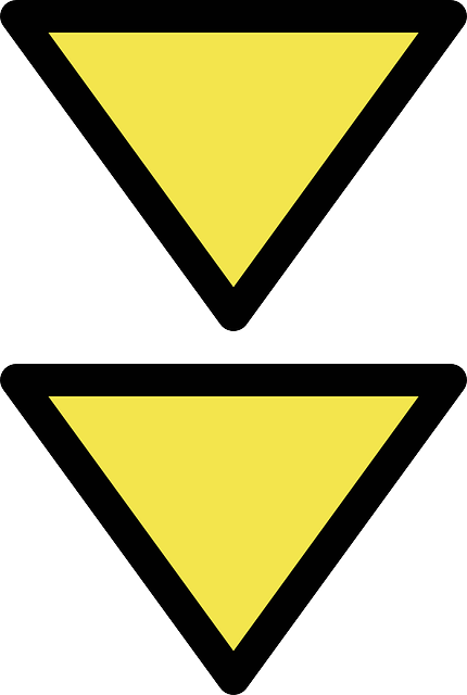 simple, arrow, double, down, maritime, cardinal, beacon