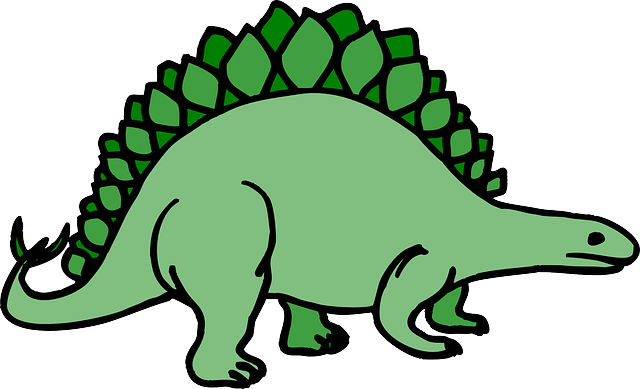 simple, cartoon, art, dinosaur, stegosaurus, ancient