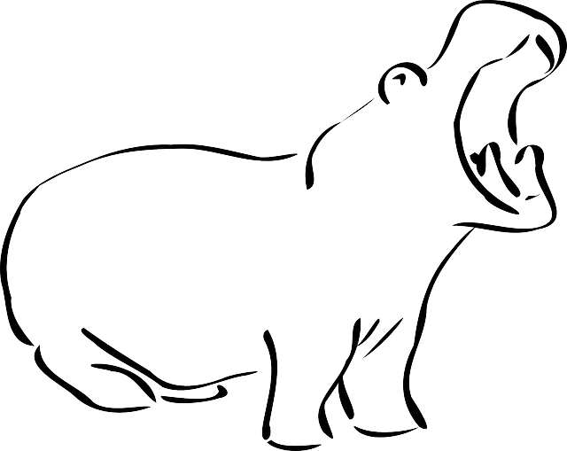 simple, outline, open, mouth, art, hippo, yawning