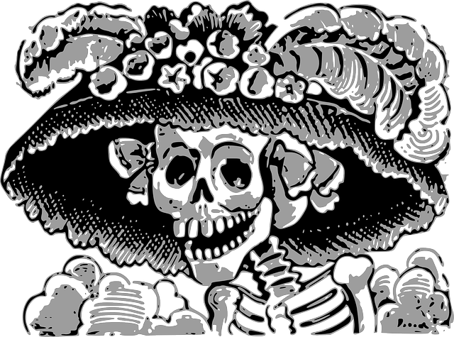 skeleton, dead, death's head, hat, bones, horror, ghost