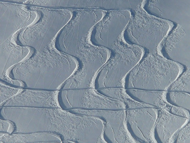 skiing, departure, wag, trace, curves, powder snow