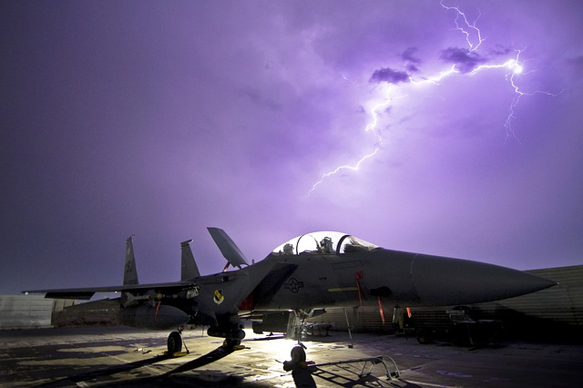 sky, clouds, plane, fighter, jet, weather, lightning