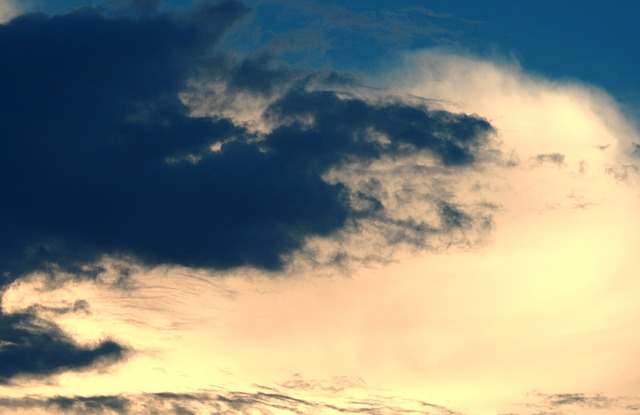 sky, sunset, clouds, dark, yellow-gold, glow, light