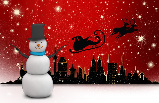 snow man, city, nicholas, reindeer, view, digital, red