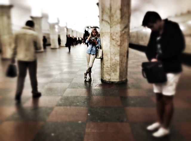 solitude, beauty, metro, moscow, mobile phone