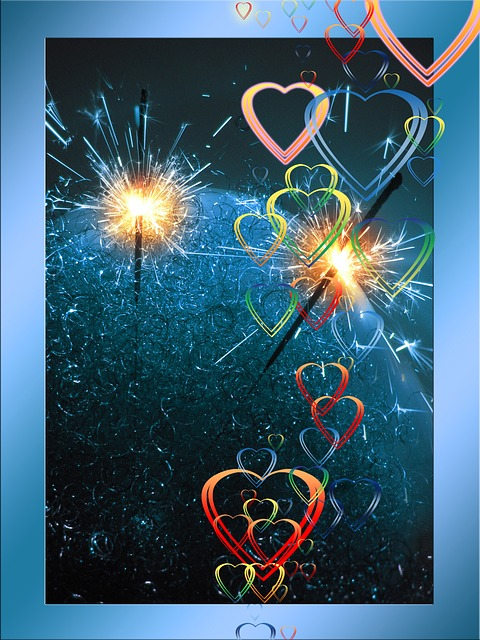 sparkler, heart, love, luck, greeting, greeting card
