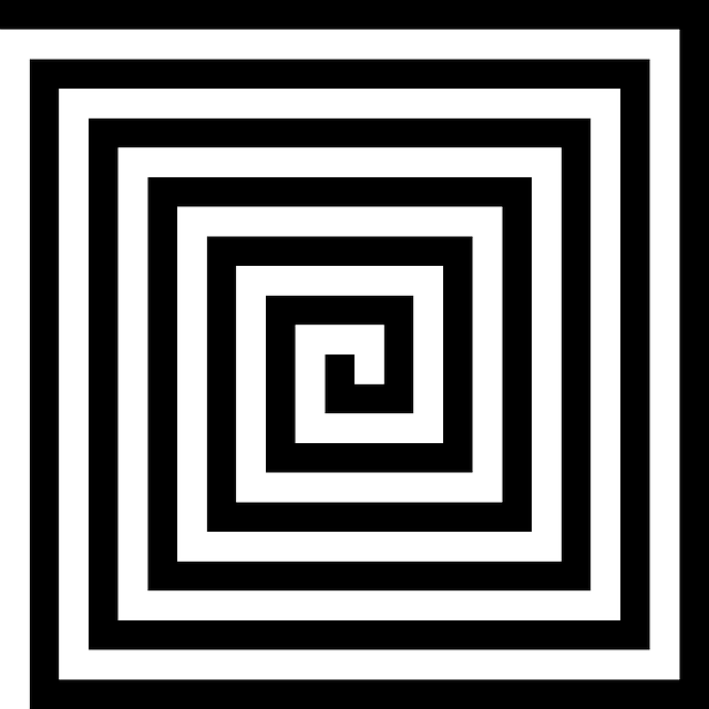 spiral, square, pattern, black, white
