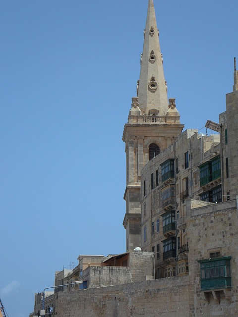spire, great, church, steeple, facades, city, valletta